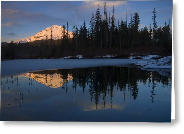 Mt Photographs Greeting Cards - Hood Alpenglow Greeting Card by Mike  Dawson