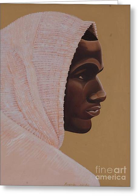 Covered Head Paintings Greeting Cards - Hood Boy Greeting Card by Kaaria Mucherera