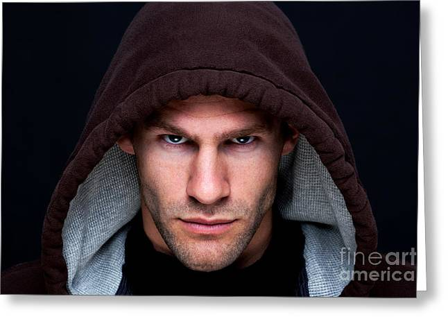 Unshaven Greeting Cards - Hooded man Greeting Card by Richard Thomas