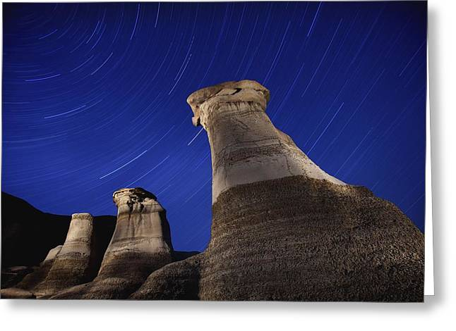 Rotation Greeting Cards - Hoodoos And Star Trails In The Sky Greeting Card by Richard Wear