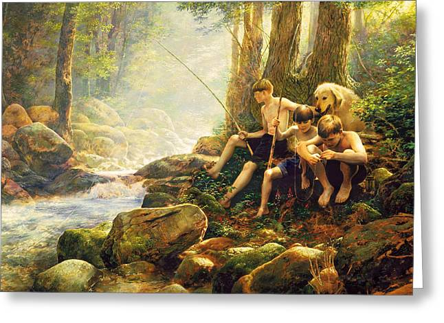 Childhood Art Greeting Cards - Hook Line and Summer Greeting Card by Greg Olsen