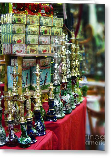 Mideast Greeting Cards - Hooka Vendor at the Kahn Greeting Card by Mary Machare