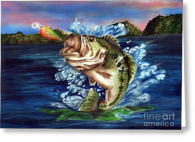 Bass Drawings Greeting Cards - Hooked Greeting Card by Kathleen Kelly Thompson