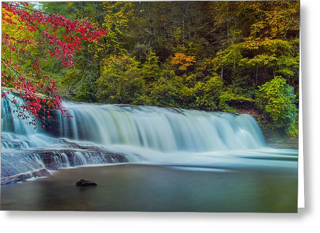 Fall Trees With Stream. Greeting Cards - Hooker Falls Greeting Card by Joye Ardyn Durham