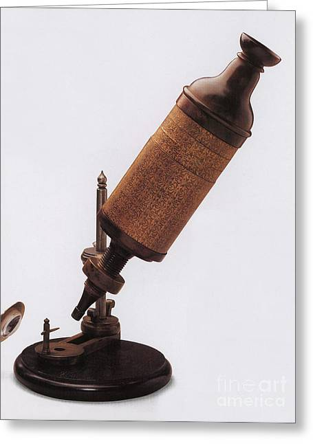 Hookes Microscope Greeting Card by Photo Researchers
