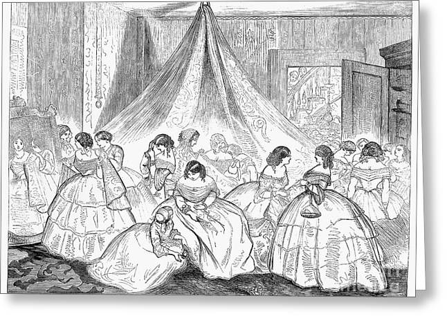 Dressing Room Greeting Cards - Hoopskirts, 1858 Greeting Card by Granger
