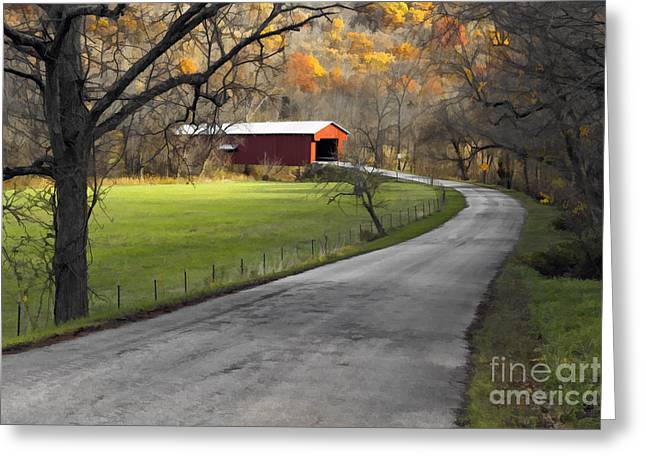 Indiana Landscapes Digital Art Greeting Cards - Hoosier Autumn - D007843a Greeting Card by Daniel Dempster
