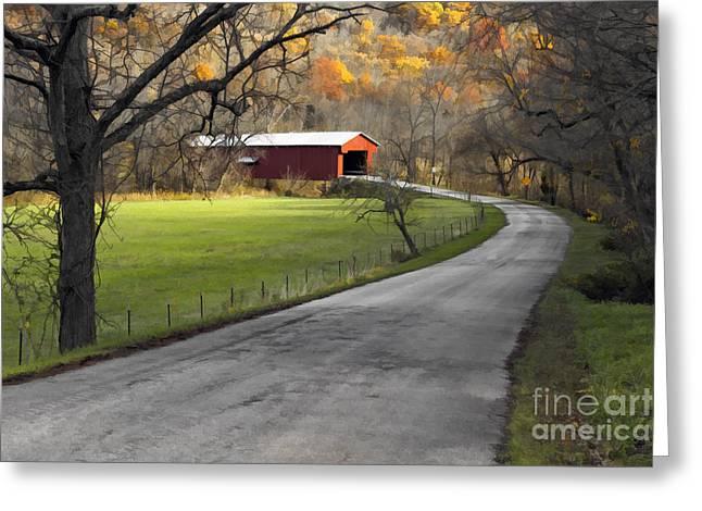 Hoosier Autumn - D007843a Greeting Card by Daniel Dempster