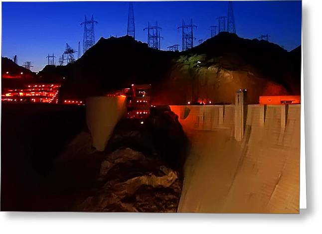 Generators Greeting Cards - Hoover Dam at Dusk 5 Greeting Card by Jeff Stein