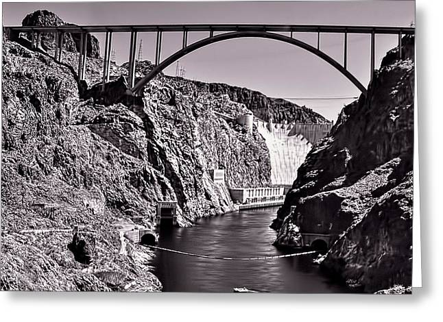 Black Canyon Pyrography Greeting Cards - Hoover Dam Bridge Greeting Card by Andre Salvador
