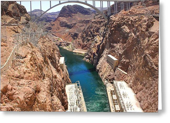 Hoover Dam Bridge Greeting Card by Mike McGlothlen