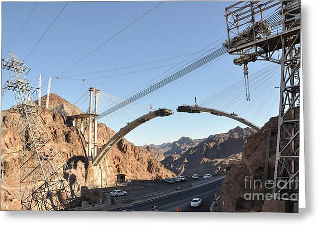Hoover Dam Greeting Cards - Hoover Dam Bypass Highway under Construction Greeting Card by Gary Whitton
