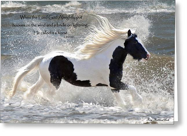 Hooves On The Wind Greeting Card by Terry Kirkland Cook