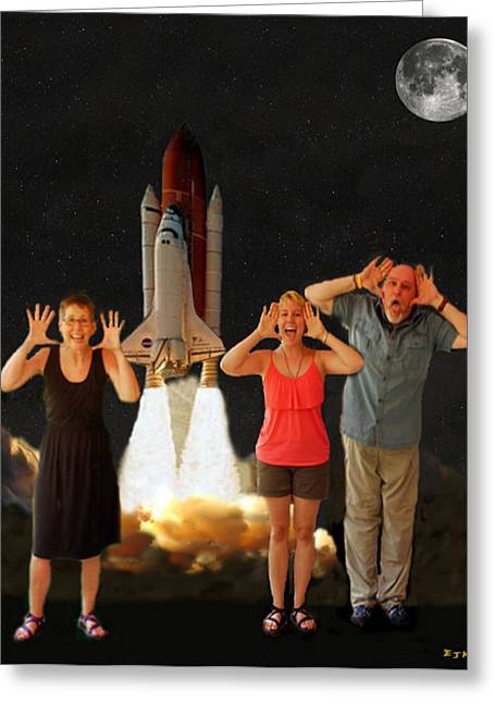 Space Shuttle Mixed Media Greeting Cards - Hoovler family scream Greeting Card by Eric Kempson