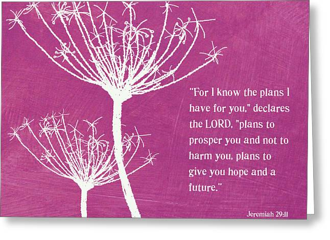 Scripture Mixed Media Greeting Cards - Hope and Future Greeting Card by Linda Woods