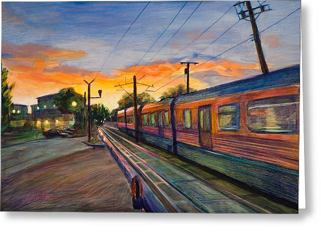 Train Crossing Greeting Cards - Hope Crossing Greeting Card by Athena  Mantle