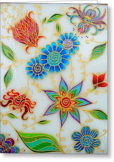 Abstracts Glass Greeting Cards - Hope flowers Greeting Card by Danuta Duminica