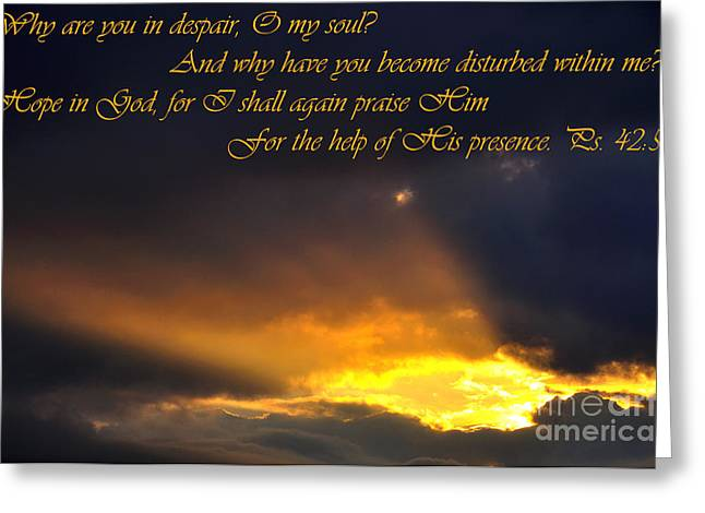 Thomas R. Fletcher Greeting Cards - Hope in God Greeting Card by Thomas R Fletcher