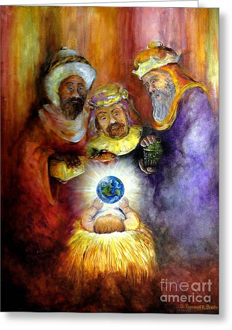 Baby In A Manger Greeting Cards - Hope of the World Greeting Card by Deborah Smith