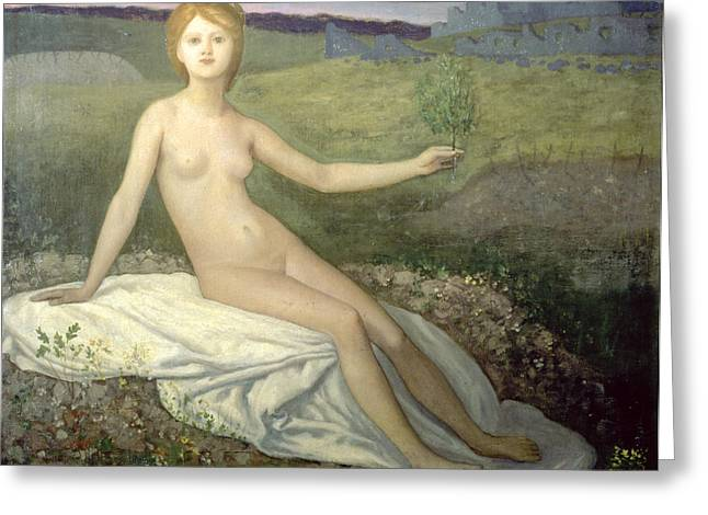 Olive Branch Greeting Cards - Hope Greeting Card by Pierre Puvis de Chavannes