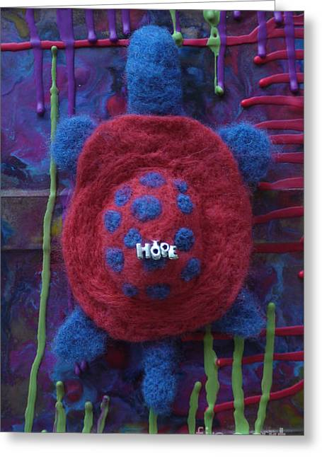 Felting Greeting Cards - Hope Turtle Greeting Card by Heather Hennick