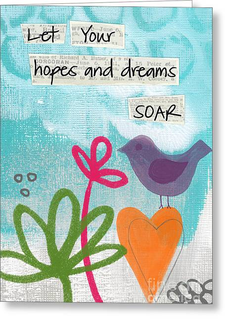 Blue Bird Greeting Cards - Hopes and Dreams Soar Greeting Card by Linda Woods