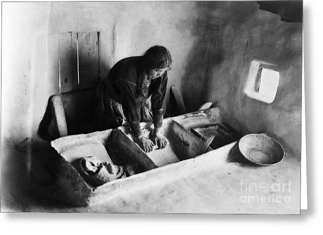 American Food Greeting Cards - HOPI: GRINDING CORN, c1911 Greeting Card by Granger