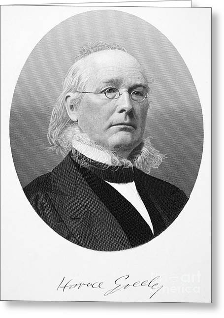 Sideburns Greeting Cards - Horace Greeley (1881-1872) Greeting Card by Granger