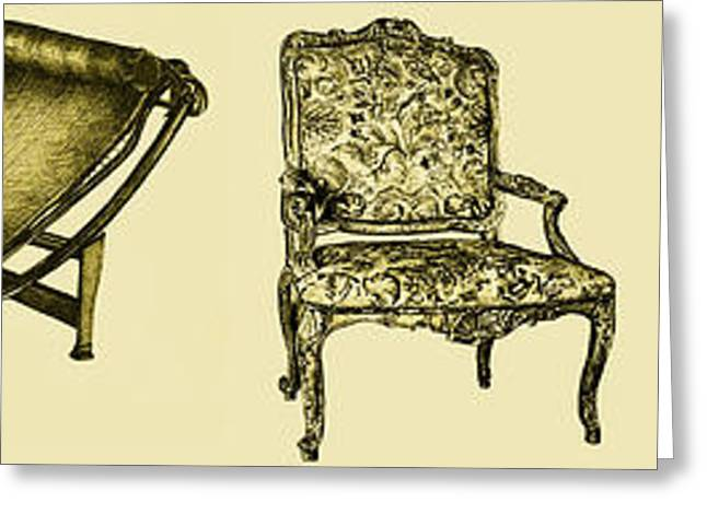 Chaise Drawings Greeting Cards - Horizontal poster of chairs in sepia Greeting Card by Lee-Ann Adendorff