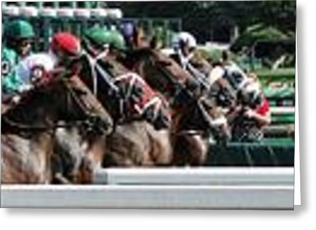 Race Horse Greeting Cards - Horizontal Start Greeting Card by Dominick Carlotti