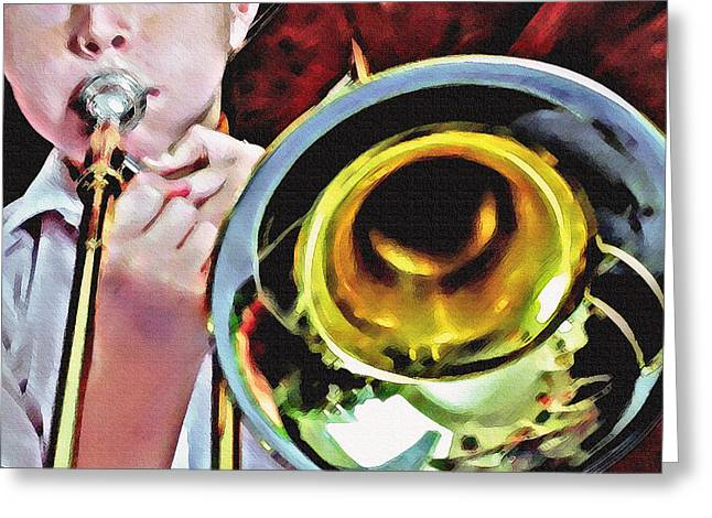 Noise . Sounds Mixed Media Greeting Cards - Horn 1 Greeting Card by Steve Ohlsen