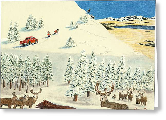 Horn Hunters Greeting Card by Tim Koziol