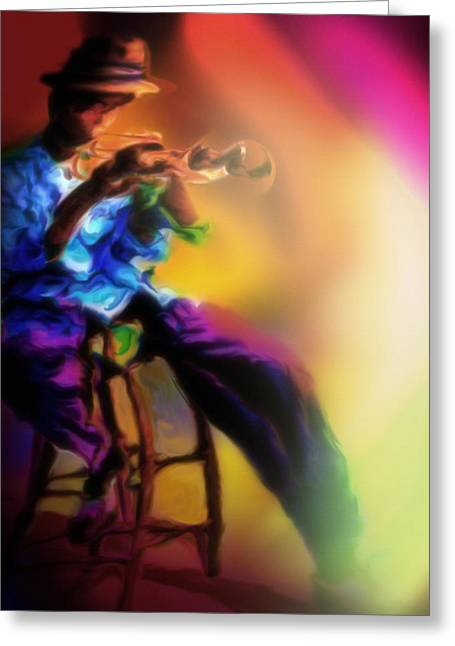 Music Pastels Greeting Cards - Horn Player 1 Greeting Card by Mike Massengale