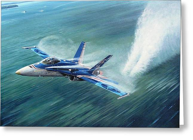 Fa-18 Greeting Cards - Hornet 20th Anniversary over Myall Lake NSW Greeting Card by Colin Parker