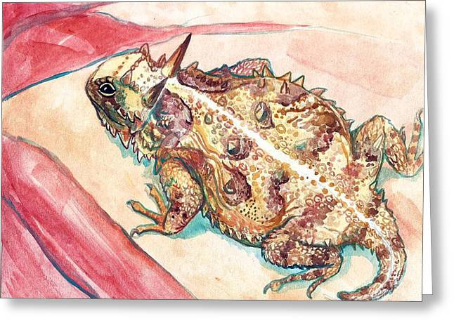 Jenn Cunningham Greeting Cards - Horny Toad Greeting Card by Jenn Cunningham