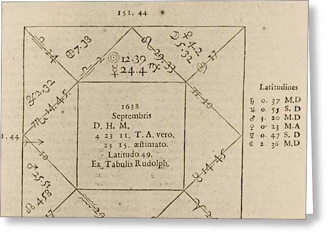 Villefranche Greeting Cards - Horoscope Chart For Louis Xiv, 1661 Greeting Card by Science Source
