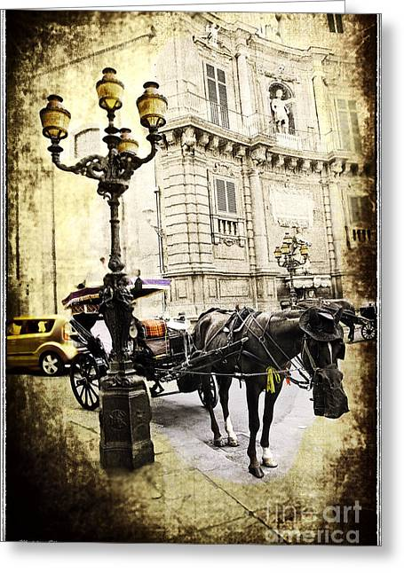 Horse Buggy Greeting Cards - Horse and Buggy - Palermo Greeting Card by Madeline Ellis