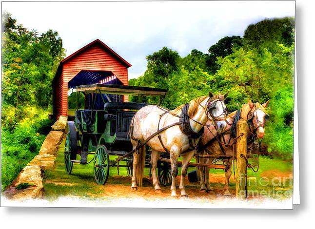 Horse And Buggy Greeting Cards - Horse and buggy in front of covered bridge Greeting Card by Dan Friend