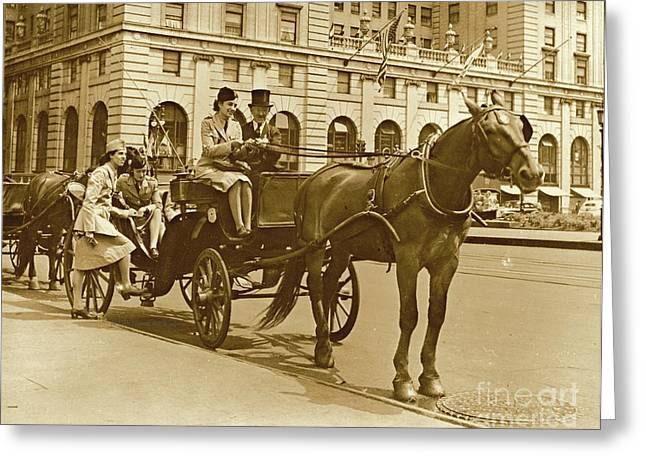 Horse And Buggy Ride On Leave Greeting Card by Padre Art
