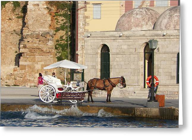 B Russo Greeting Cards - Horse and carriage Greeting Card by B Russo