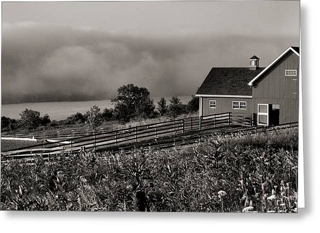 Farm Framed Prints Greeting Cards - Horse Barn Above the Lake  Greeting Card by Steven Ainsworth