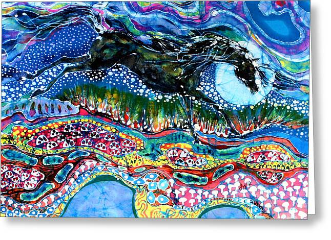 Equine Tapestries - Textiles Greeting Cards - Horse Born of Moon Energy Greeting Card by Carol Law Conklin