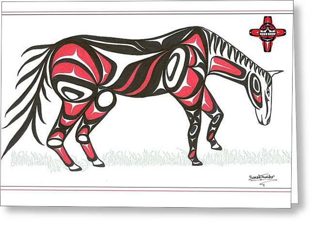 Speakthunder Berry Greeting Cards - Horse grass sun red Greeting Card by Speakthunder Berry