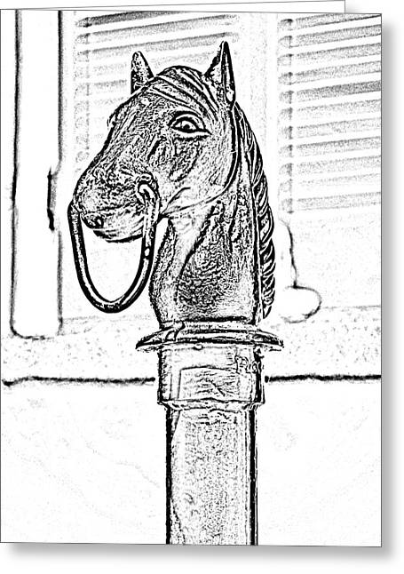 Photocopy Greeting Cards - Horse Head Hitching Post Macro French Quarter New Orleans Black and White Photocopy Digital Art Greeting Card by Shawn O