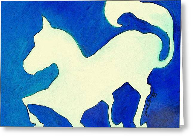 Horse In Blue And White Greeting Card by Janel Bragg