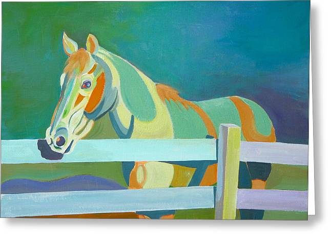 Horse In The Paddock Greeting Card by Thierry Keruzore