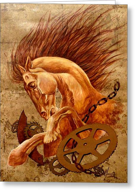 Mechanism Paintings Greeting Cards - Horse Jewels Greeting Card by Lena Day