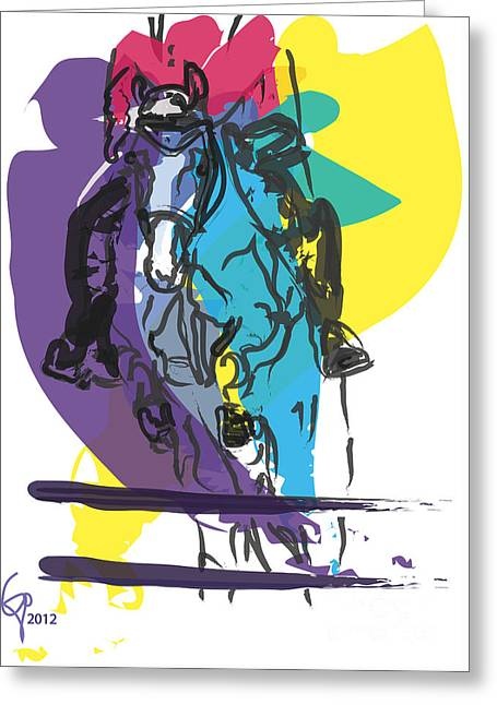 Horse Jumping In Colour Greeting Card by Go Van Kampen