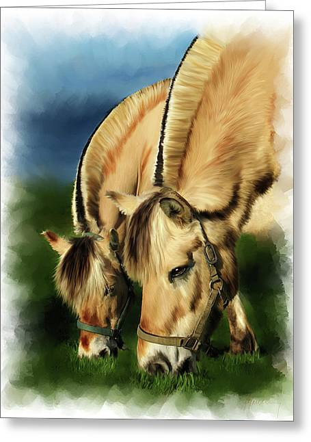 Time2paint Greeting Cards - Horse Portrait Greeting Card by Michael Greenaway