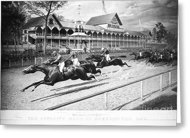 Bandstand Greeting Cards - Horse Racing, 1889 Greeting Card by Granger